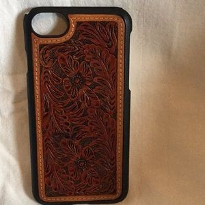 Western tooled leather iPhone 8 case